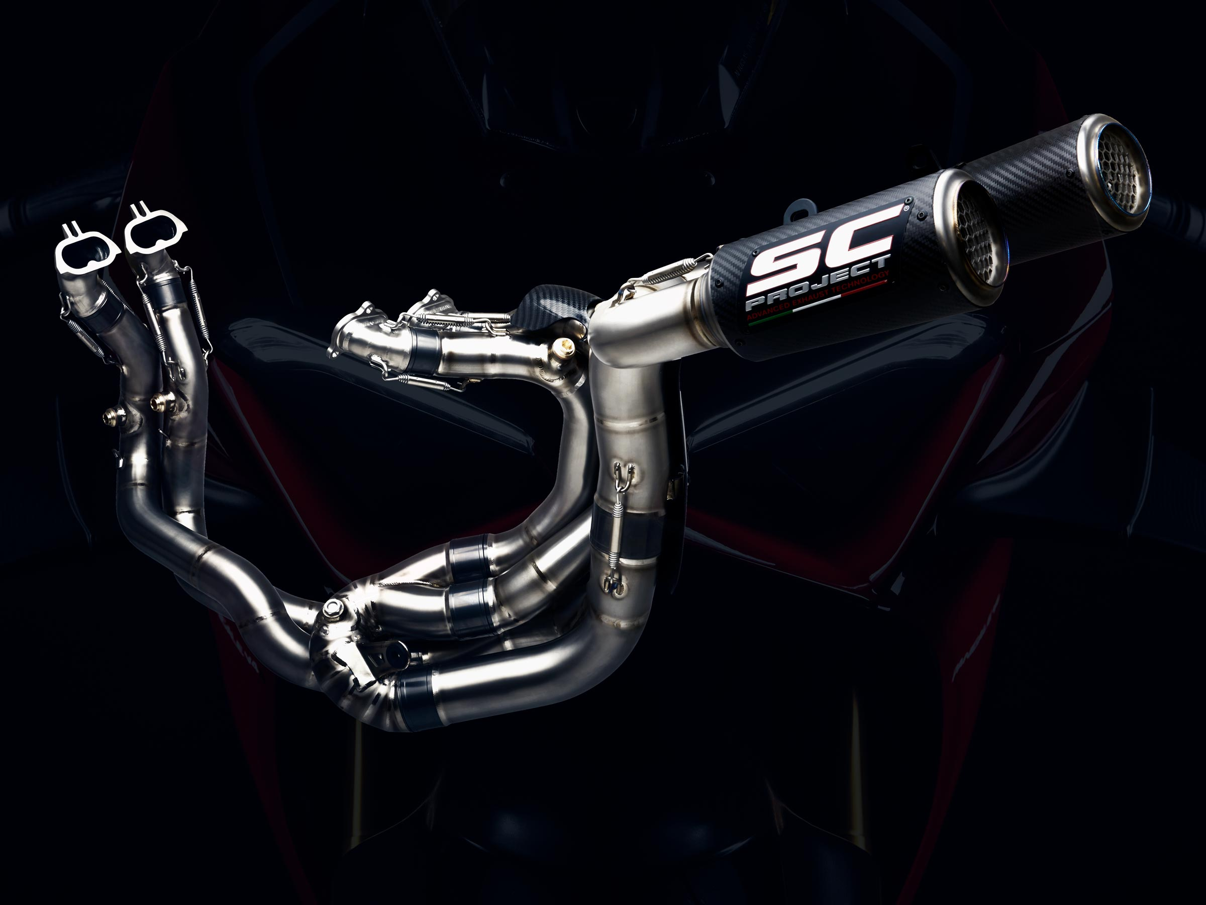 Ducati Panigale V4 SC-Project WSBK full exhaust system web background