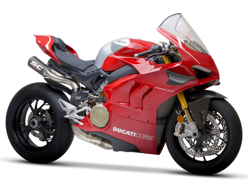 Ducati Panigale V4 R SC-Project full exhaust system WSBK 3/4 front right transparent PNG