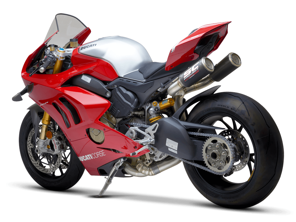 Ducati Panigale V4 R SC-Project full exhaust system WSBK 3/4 rear left transparent PNG