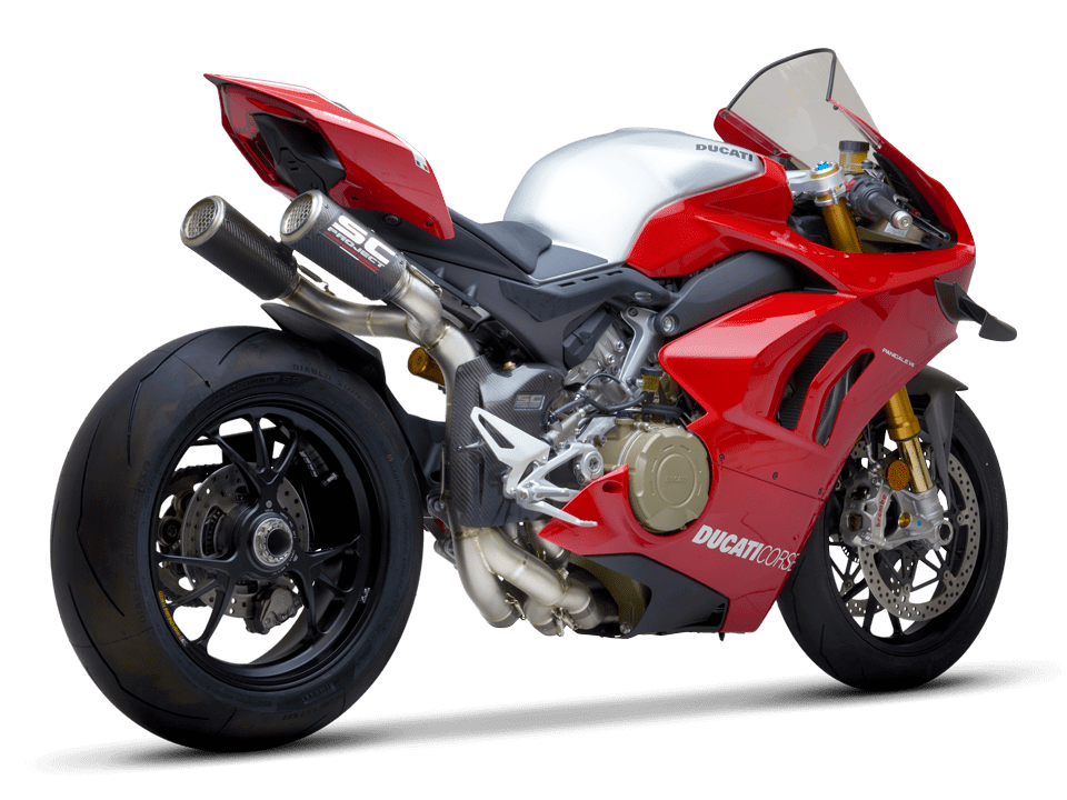 Ducati Panigale V4 R SC-Project full exhaust system WSBK 3/4 rear right transparent PNG