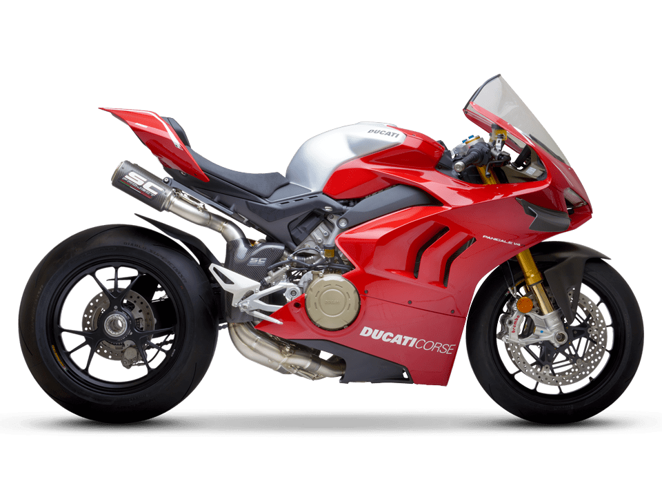 Ducati Panigale V4 R SC-Project full exhaust system WSBK right side transparent PNG