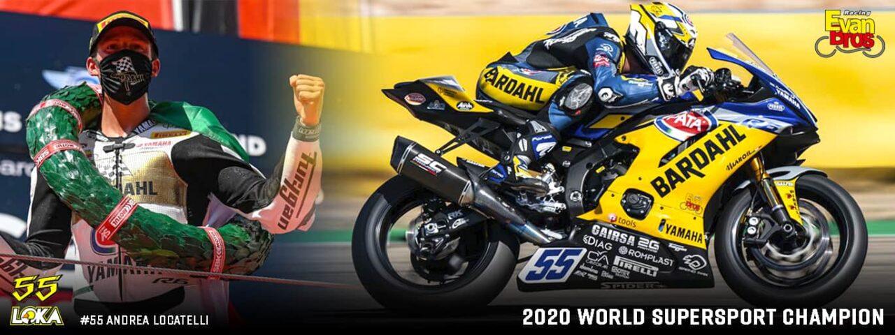 banner WSSP 2020 world champion Andrea Locatelli #55 Team Evan Bros Yamaha R6 sc-project