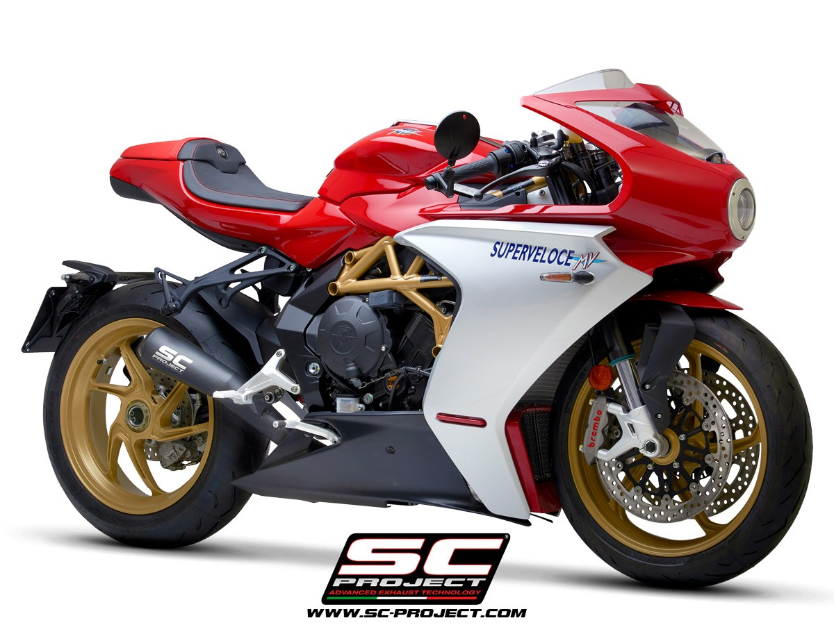 MV Agusta Superveloce 800 my2020 Conic 70s Matt Black 3/4 Front auspuff schalldampfer sc-project